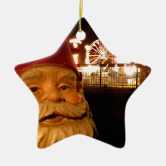 Carnival Gnome Ceramic Star Ornament