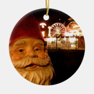 Carnival Gnome Round Ceramic Ornament