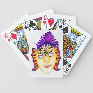 Carnival Mask Watercolor 2 Bicycle Playing Cards