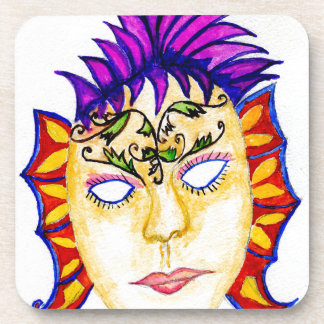Carnival Mask Watercolor 2 Coaster