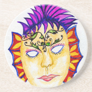 Carnival Mask Watercolor 2 Coaster