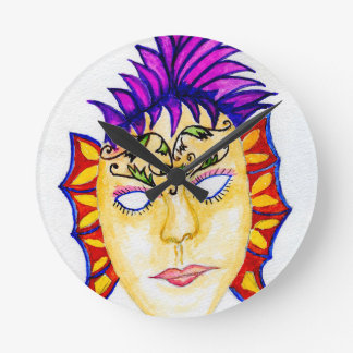 Carnival Mask Watercolor 2 Round Clock