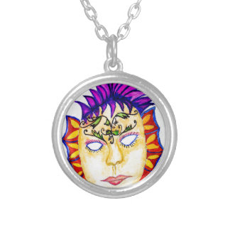 Carnival Mask Watercolor 2 Silver Plated Necklace