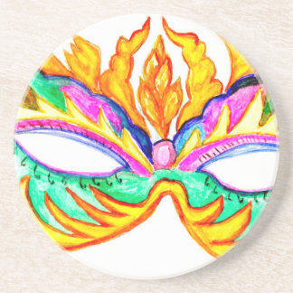 Carnival Mask Watercolor Coaster