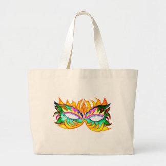 Carnival Mask Watercolor Large Tote Bag