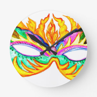 Carnival Mask Watercolor Round Clock