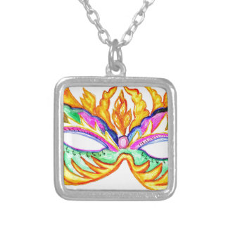 Carnival Mask Watercolor Silver Plated Necklace