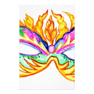 Carnival Mask Watercolor Stationery