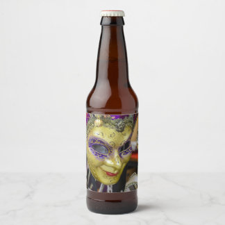 Carnival Masquerade Masks in Venice Italy Beer Bottle Label