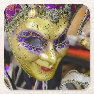 Carnival Masquerade Masks in Venice Italy Square Paper Coaster