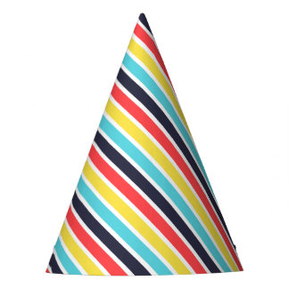 Carnival Multi Diagonal Stripe Party Hat