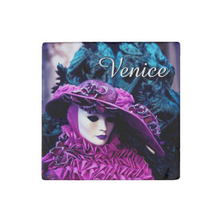Carnival of Venice, Italy - Lady In Purple Stone Magnets
