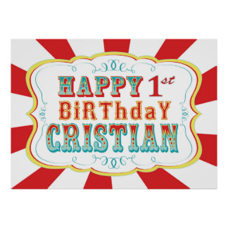 Carnival or Circus Birthday Banner for Cristian Poster