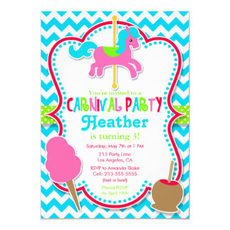 Carnival Party Carousel Horse Birthday Invitation