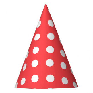 Carnival Red Back Large White Dots Party Hat