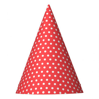 Carnival Red Back Tiny White Dots Party Hat