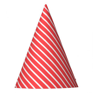 Carnival Red Diagonal Stripe Party Hat