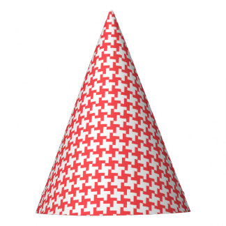 Carnival Red Houndstooth Party Hat