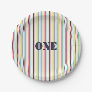 Carnival Stripe Paper Plate {Editable Text}