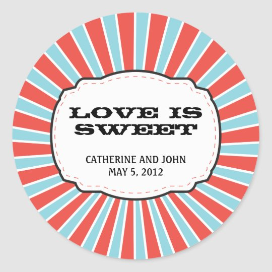 Carnival Themed Wedding Classic Round Sticker