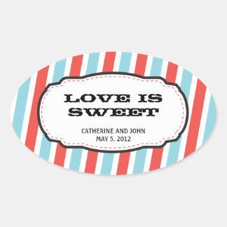 Carnival Themed Wedding Oval Sticker