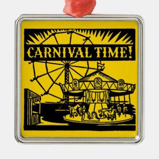 Carnival Time Silver-Colored Square Ornament