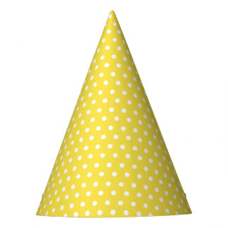 Carnival Yellow Back Tiny White Dot Party Hat