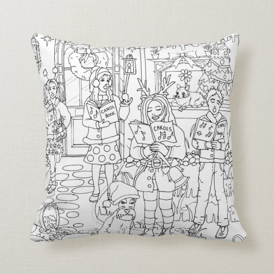 Carol singers and schnauzer dog, Christmas holiday Throw Pillow