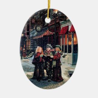 Carol Singing Children Ceramic Ornament