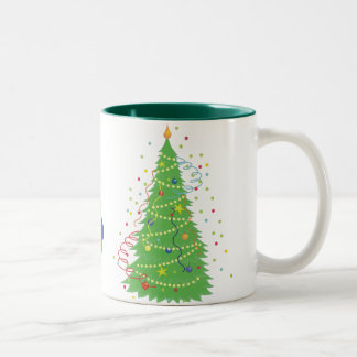 carolers, christmas tree Two-Tone coffee mug