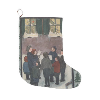 Carolers Large Christmas Stocking