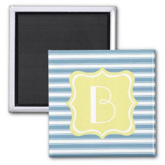 Carolina Blue and Butter Yellow Stripe Monogram Square Magnet