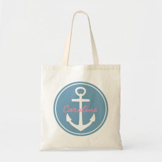 Carolina Blue and White Anchor with Happy Pink Tote Bag