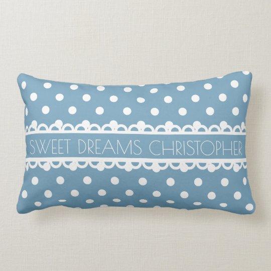 Carolina Blue and White Polka Dot Nursery Lumbar Pillow