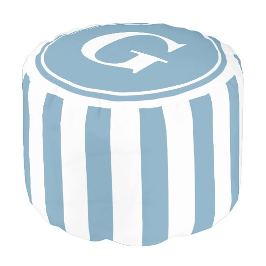 Carolina Blue and White Stripes Monogram Pouf