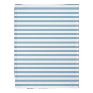 Carolina Blue and White Stripes Personalized Duvet Cover
