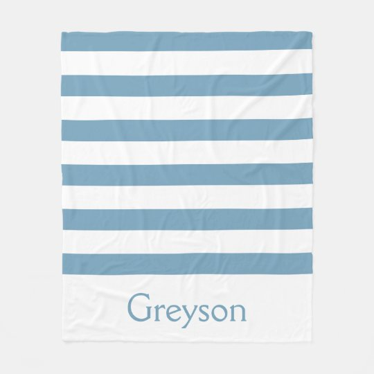 Carolina Blue and White Stripes Personalized Fleece Blanket