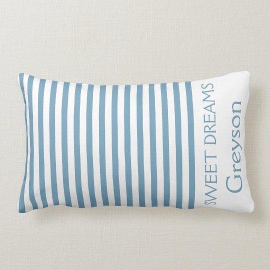 Carolina Blue and White Stripes Personalized Lumbar Pillow