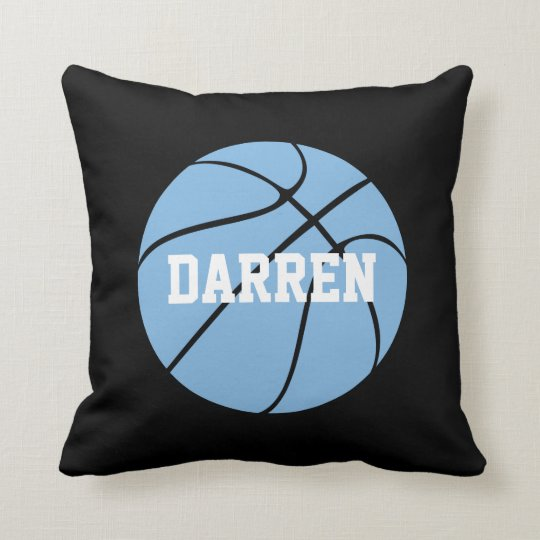 Carolina Blue Basketball Custom Name Throw Pillow