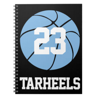 Carolina Blue Basketball Student Name and Number Notebook