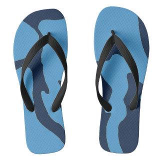 Carolina Blue Navy Camo Flip Flops