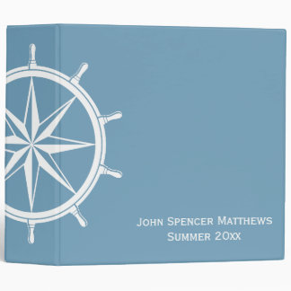 Carolina Blue Ship Wheel Personalized Binder