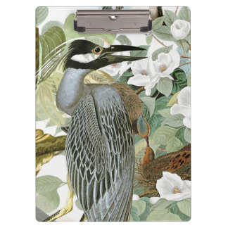 Carolina Dove & Night Heron Bird Flowers Clipboard