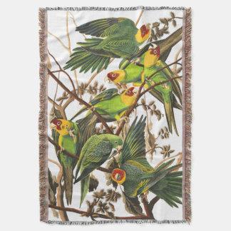 Carolina Parrot Birds Audubon Throw Blanket