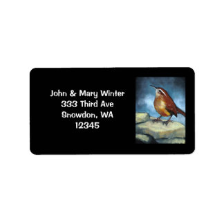 Carolina Wren: ADDRESS LABELS: ORIGINAL ART Label