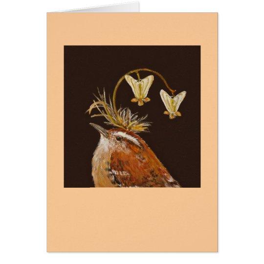 Carolina wren with Dutchman's britches hat card