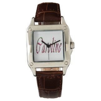 Caroline, Name, Logo, Ladies Square Leather Watch