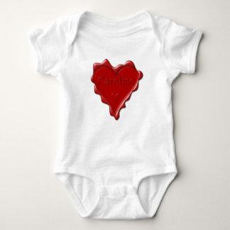 Caroline. Red heart wax seal with name Caroline.pn Baby Bodysuit