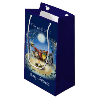 Caroling Birds Christmas Small Gift Bag