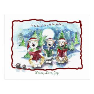 Caroling Christmas Cats Postcard